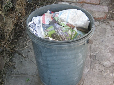 the full collecting bucket ready for composting