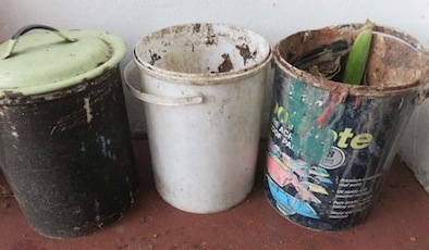 paint buckets make perfect kitchen waste collector bins