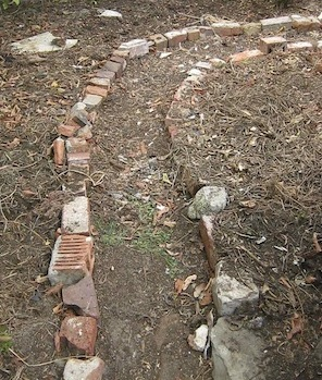 the simple mulched path shortly after construction