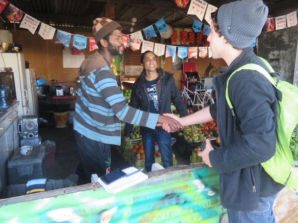 Inside Daniel's vegetable shop next to the Langa food garden