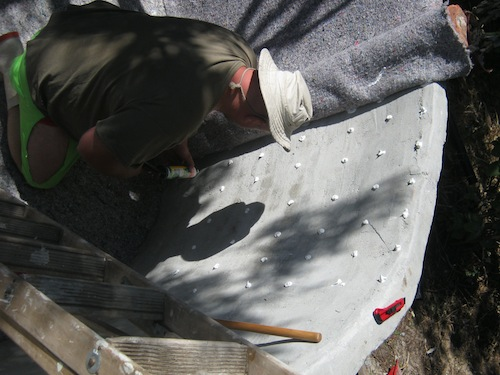 gluing the top of the pond walls with spots of glue