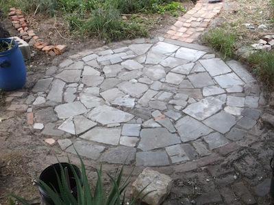concrete shatter garden paving, brick paths being built