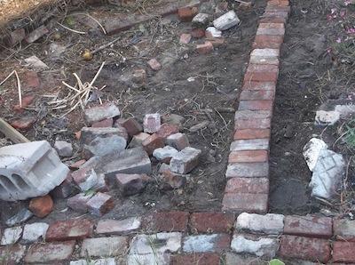 a very simple garden path under construction
