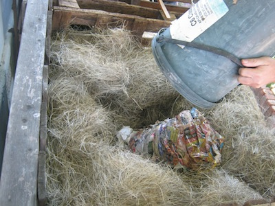 dump the contents in a nest of straw