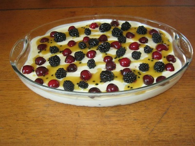 A four berry cheese tart by Leonie with biscuit base which would be a hit in most coffee shops.