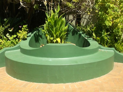 An unusually shaped well at the house of artist Irma Stern