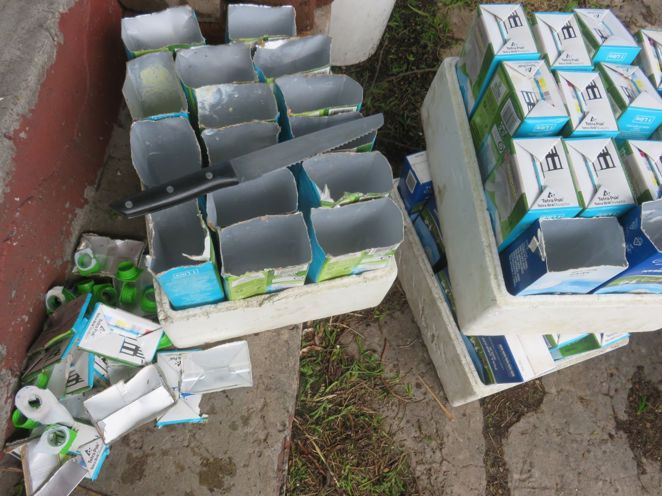 De-capping the milk cartons. They have a waxed cardboard exterior and a plastic and foil lining.