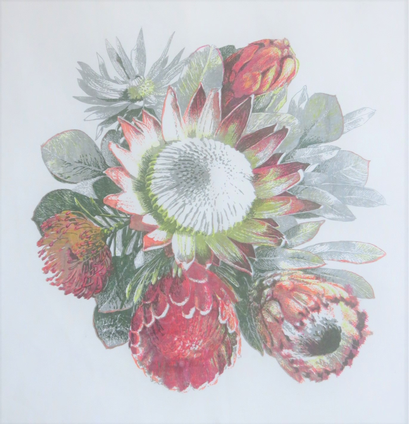 This picture of different proteas is a seven color print