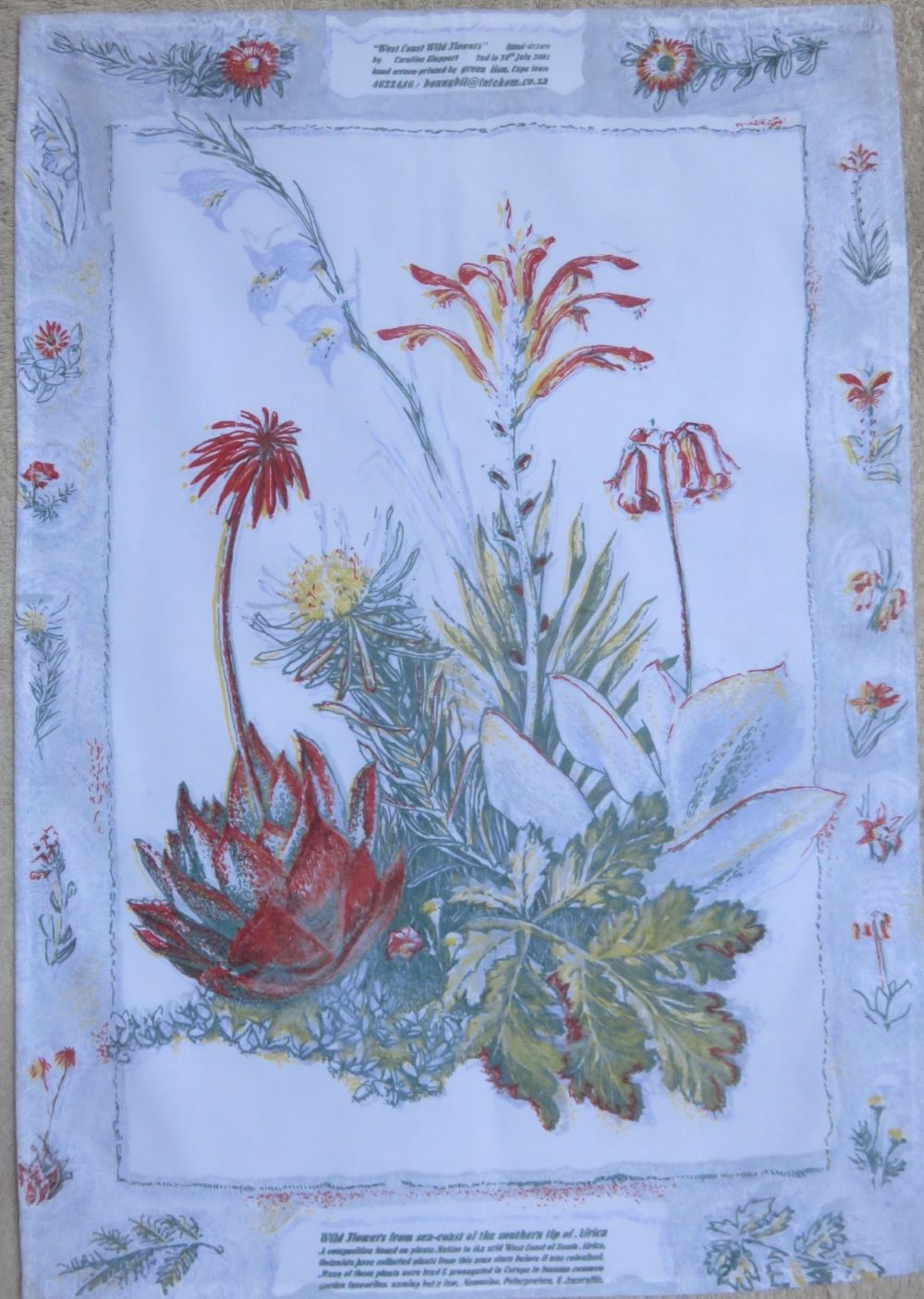 The same wild flower design with a border done for our range of tea towels.