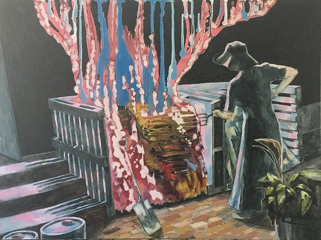 This is a picture of me working at my old cubic composters painted by me genius sister Lizza Littlewort. It is very accurate, she can see more than the rest of us.