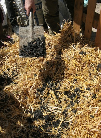 Biochar will get charged up in this hot compost pile