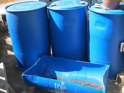 barrels to make grow beds