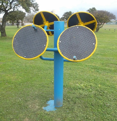 this curious contraption is an exercise machine in the Alice street park outdoor gym, free entry and often used