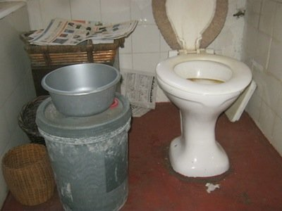 newspaper, bowl, two buckets and u-bend removal were all we needed
