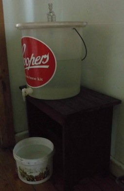 Old beer brewing vat converted to a drinking water vat.