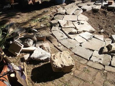 building garden paving out of broken concrete shatter