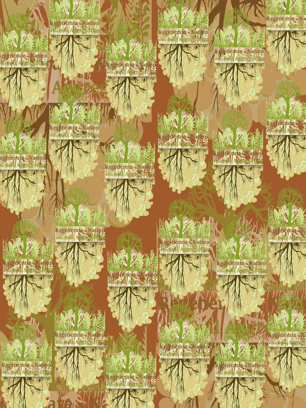 Our downloadable gift wrap paper to print at home. This is the Regenerate a Nation design on a red ochre background.
